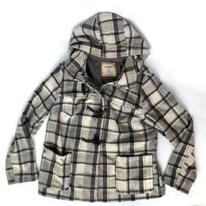 Old Navy Gray & Mustard Plaid Hooded Pea Coat